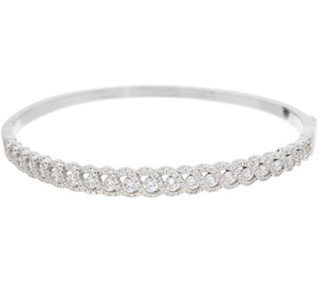 """As Is"" Diamonique Braided Hinge Bangle, Sterling"