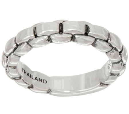 JAI Sterling Silver Box Chain Band Ring