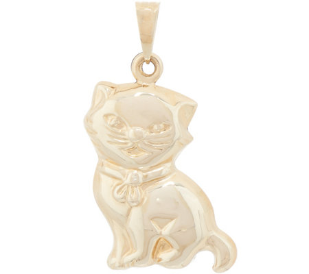 Italian Gold Cat Pendant 14K Gold