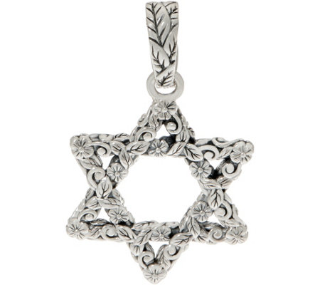 JAI Sterling Silver Carved Star of David Enhancer