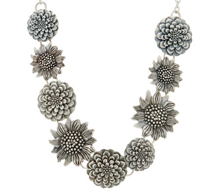 Or Paz Sterling Silver Multi-Flower Necklace 25.0g