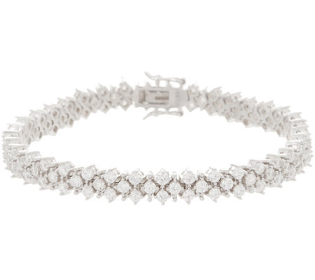 Diamonique 4.40 cttw Multi-rounds Tennis Bracelet Sterling