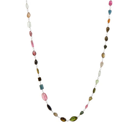 "Colors of Tourmaline 24"" Station Necklace Sterling"