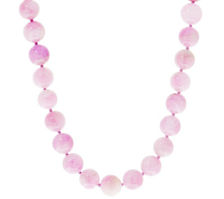 """As Is"" 10mm Exotic Opaque Gemstone Bead Necklace, Sterling"