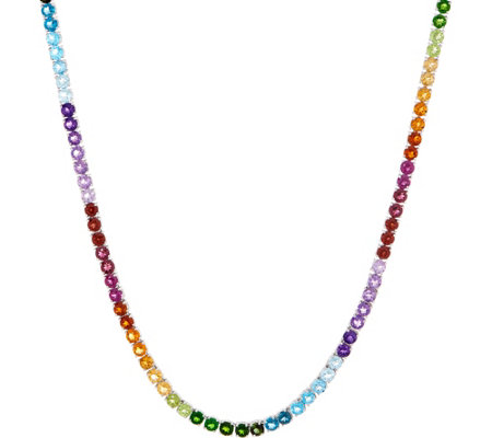 Judith Ripka Sterling Silver Rainbow Gem Tennis Necklace 28 0 Cttw