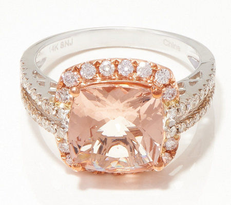 14k Gold Morganite Diamond Ring 3 25 Cttw
