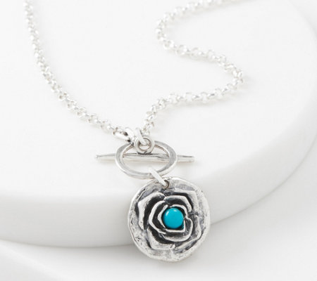 Or Paz Sterling Silver Gemstone Flower Toggle Necklace