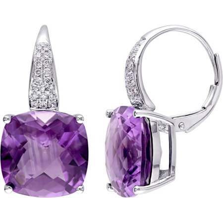 14K 12.45 cttw Amethyst & 1/5 cttw Diamond Earrings