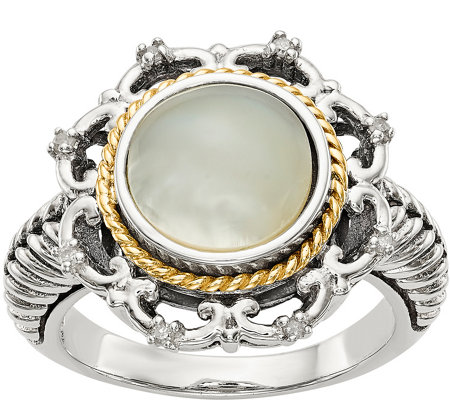 Sterling & 14K Mother of Pearl & Diamond Accent Ring