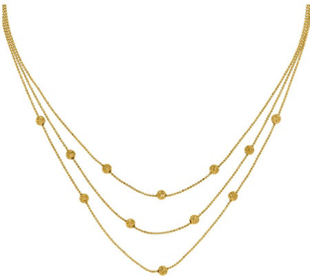 14K Three-Strand Bead Station Necklace, 7.6g
