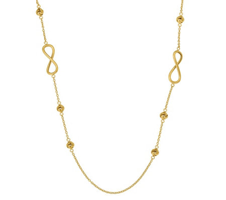 Italian Gold Love Knot Station & Infinity Necklace 14K, 10.9g