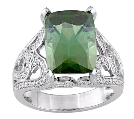 14K 7.05 ct Green Tourmaline & 6/10 cttw Diamond Ring