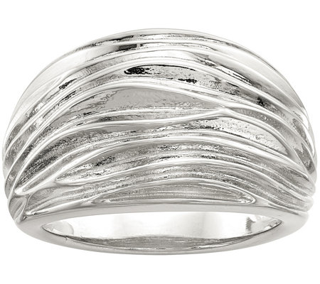 Sterling Pleated Domed Ring by Silver Style
