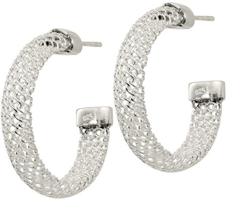 Sterling Mesh Post Hoop Earrings by Silver Style