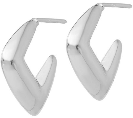 Italian Silver U-Shaped Post Earrings, Sterling