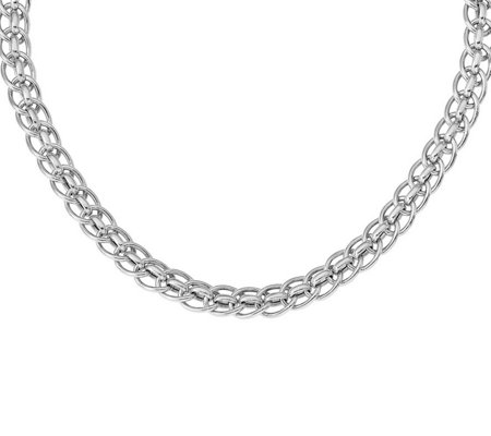 Italian Silver Interlocking Oval Bead NecklaceSterling, 23.4g