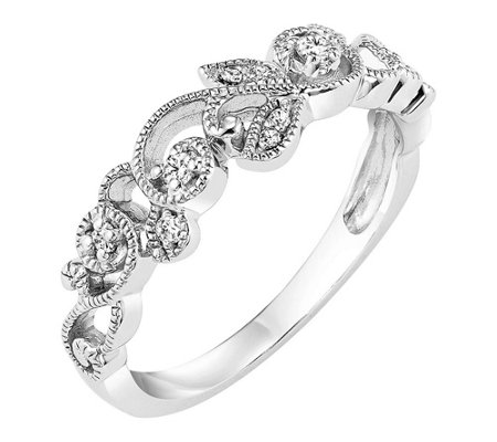 Affinity 14K Gold Diamond Floral Band Ring