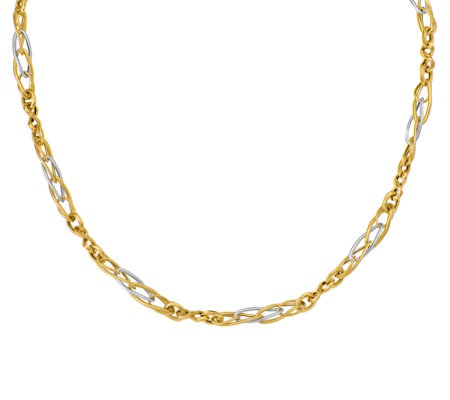 Italian Gold 18 Two Tone Infinity Link Necklace 14k