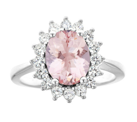 14K Gold 1.80 cttw Oval Morganite Halo Ring