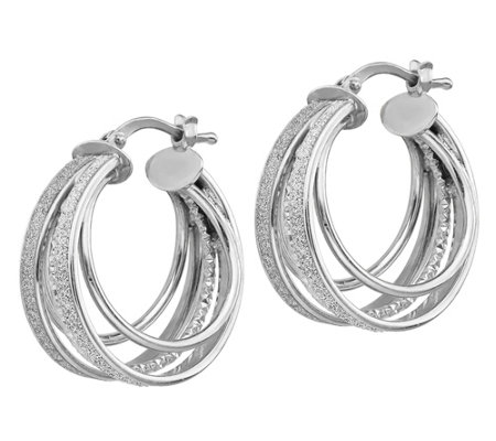 Italian Silver Multi Hoop Glimmer Hoop Earrings