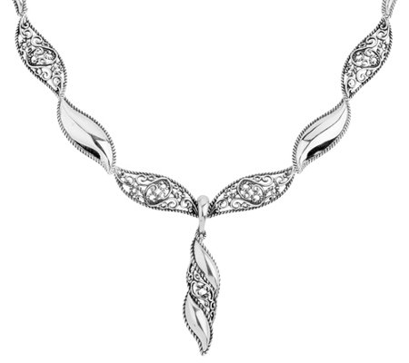Carolyn Pollack Filigree Wave Necklace w/ Enhancer, 36.0g