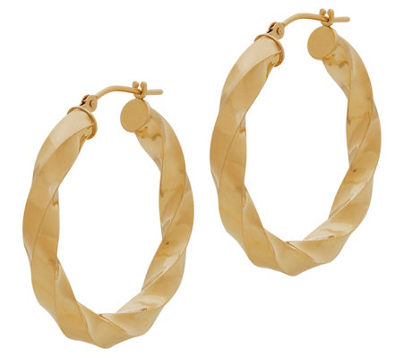 "EternaGold 1-1/4"" Polished Twist Hoop Earrings,14K Gold"