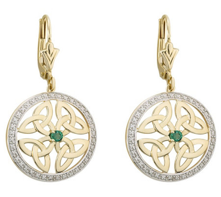 Solvar 14K Diamond & Emerald Trinity Knot DropEarrings