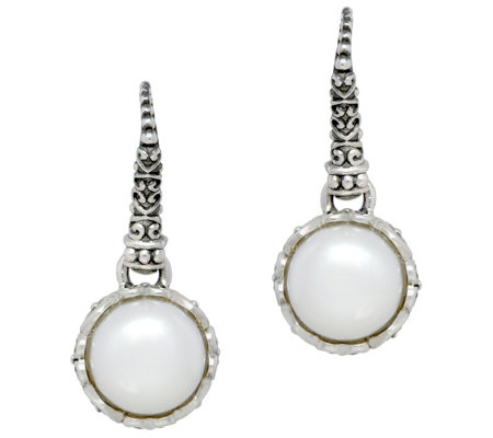 Elyse Ryan Sterling & Button Pearl Drop Earrings