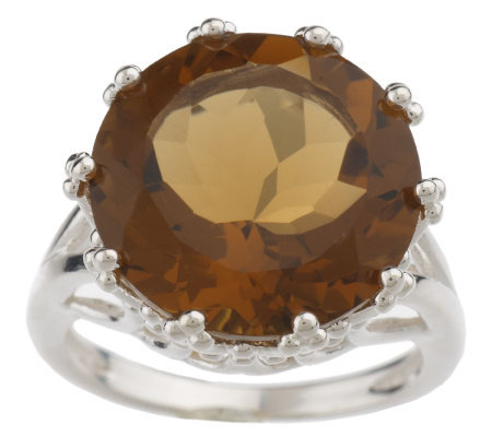 Sterling 9.00 ct Round Whiskey Quartz Ring
