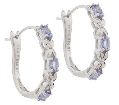 0 50 Ct Tw Tanzanite Oval Sterling Hoop Earrings