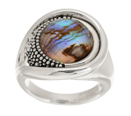 Michael Dawkins Sterling Starry Night Round Gemstone Doublet Ring