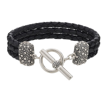 Michael Dawkins Sterling Multi Strand Leather Toggle Bracelet