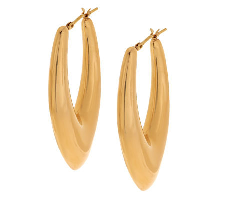 Oro Nuovo Elongated Teardrop Design Hoop Earrings 14K