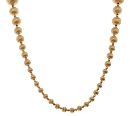 """As Is"" Veronese 18K Yellow Gold Clad 36"" Satin Bead Necklace"