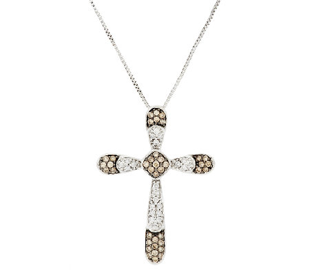 Argyle Diamond 1/2 cttw Cross Pendant with Chain, Sterling