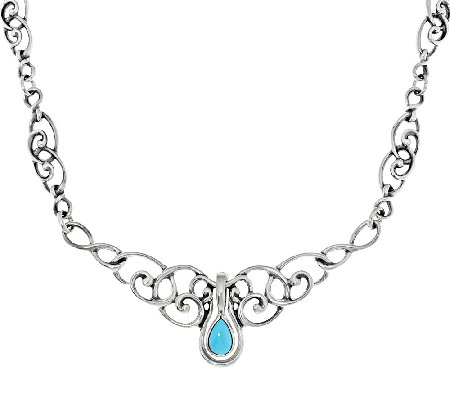 Carolyn Pollack Sleeping Beauty Turquoise Pear Enhancer Scroll Design Necklace