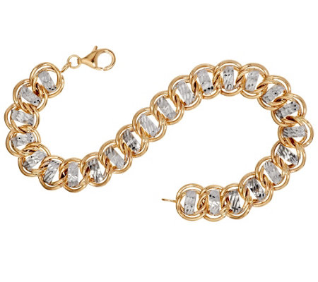 "14K Gold 6-3/4"" Diamond Cut Curb Link Bracelet, 5.7g"