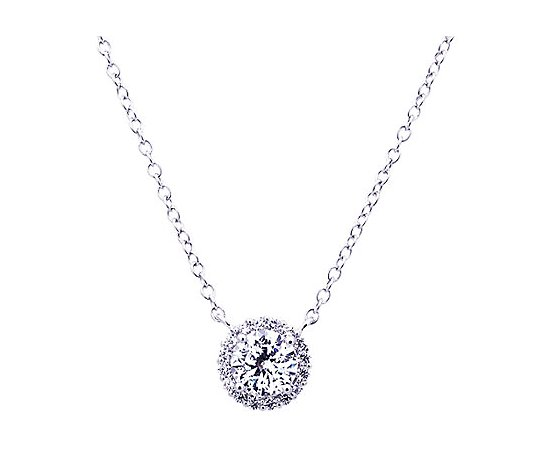 Diamonique 100-Facet 1.65cttw Halo Pendant, Platinum Clad