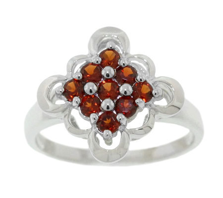 Sterling 0.50 ct tw Garnet Scalloped-Edge Ring