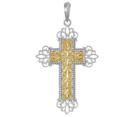Diamond-Cut Two-tone Cross Pendant, Sterling/14K Gold
