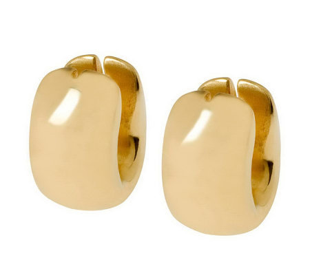 Arte d'Oro Wide Oval-Shaped Huggie Hoop Earrings, 18K Gold