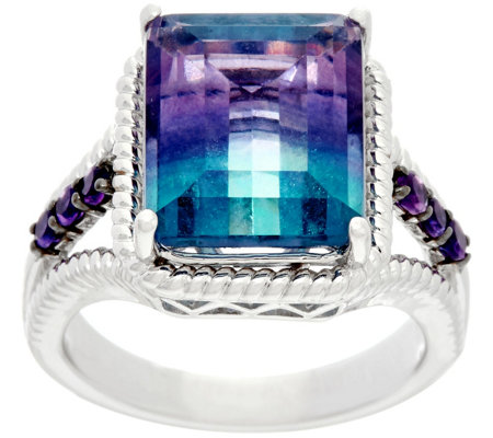 Emerald Cut Bi-Color Fluorite & Amethyst Sterling Ring