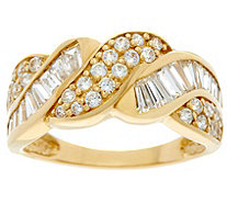 Diamonique Round and Baguette Band Ring, 14K Gold - J334691