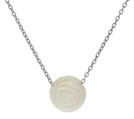 As Is Honora Cultured Pearl 12 0mm Carved Flower Sterling Pendant W Chain