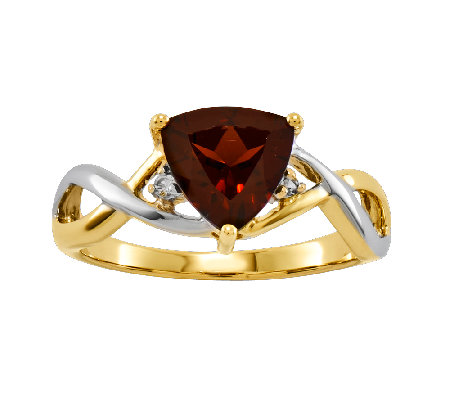 Choice of Gemstone Two-Tone Trillion-Cut Ring, 14K Gold