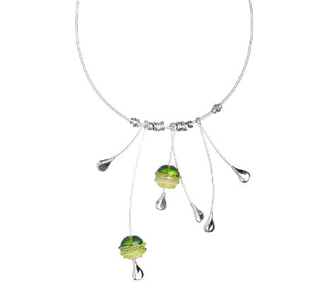 Kalos by Hagit Elongated Glass Bead & SterlingDrop Necklace