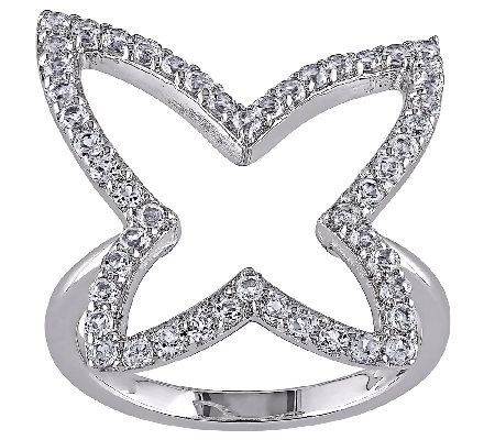 1.5cttw White Topaz Butterfly Ring, Sterling