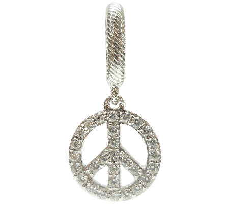 Judith Ripka Sterling with White Diamonique Peace Charm