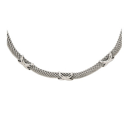 "Sterling Beaded Polished ""X"" Mesh Necklace b ySilver Style"
