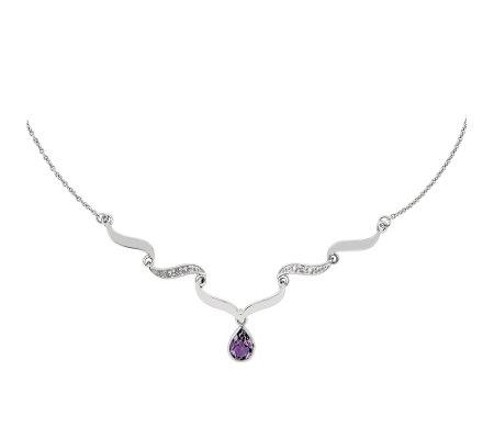 Sterling Gemstone Ribbon Necklace